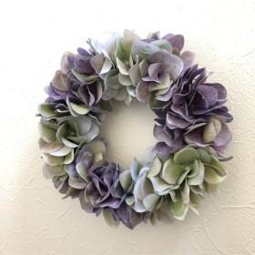 紫陽花のアンティークリース パープル×グリーン ︎直径 約19cm 選べるリボン付き