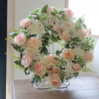 母の日にも! ボリューム感 紫陽花と薔薇のリース ウェルカムスペース お祝い・ギフト 手書きのメッセージを代筆します 042