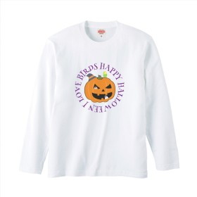 文鳥長袖Tシャツ 「 ハッピーハロウィン」【受注生産】