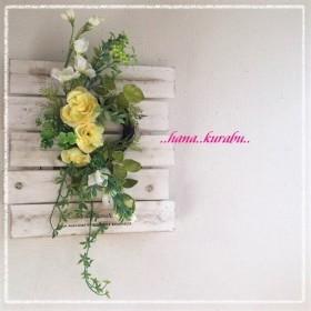 ◆長さ40㎝黄色のバラとクローバーのリース◆壁掛けリース◆