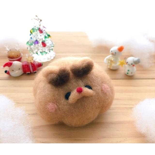 【羊毛フェルト】 クリスマス関連作品 赤鼻のトナカイふわまろさんB 【おころまあや】