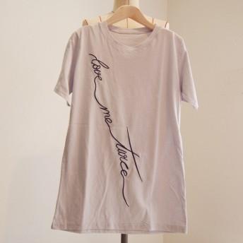 ブルーグレイ・S〜Mサイズの方向け『刺繍・コットンTシャツ』綿素材が素肌に優しい【夏 刺繍 チュニック Tシャツ レディース】