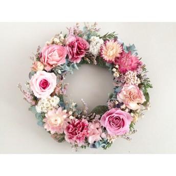 ピンクローズとカーネーションのリース(母子草):ドライフラワー・プリザーブドフラワー・リース・紫陽花・ドライフラワー