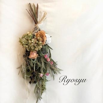 ドライフラワー・バラとgreen紫陽花のワイルドスワッグ