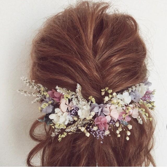 くすみピンクシリーズ ドライフラワー プリザーブドフラワー 結婚式 前撮り 和装 二次会 ヘッドパーツ ヘッドドレス