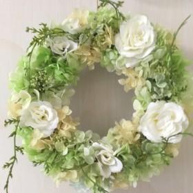 【送料無料】紫陽花とバラのリース