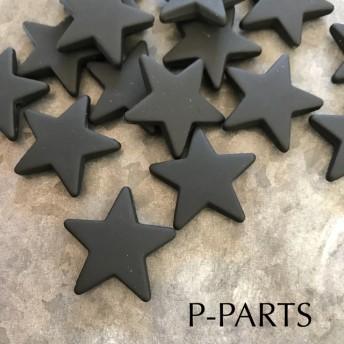 0138《再販》マット BLACK star★import beads 6ヶ