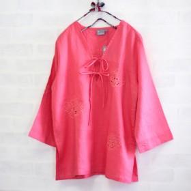 花のカットワーク刺繍リネンリボンブラウス【コーラルL】