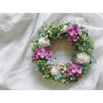 Hydrangea flower 紫陽花とベリーのリース