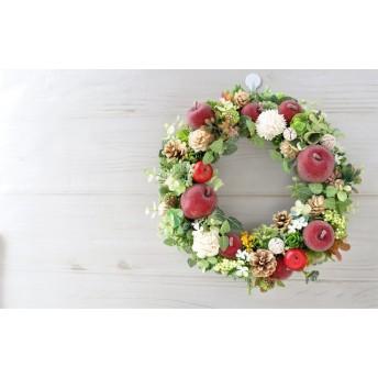 赤りんごと白いソラフラワー:リース フルーツ 木の実