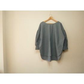 ★en-en綿麻シャンブレー・袖リボン ブルー1685
