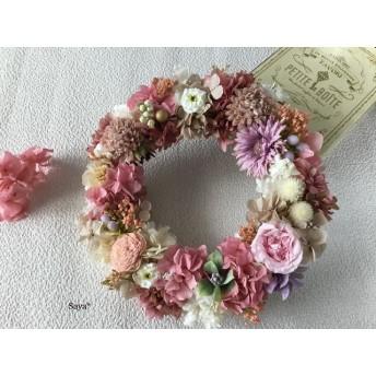 Majolica Sherbet pink × Hydrangea  wreath リース ギフト