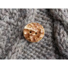 ハンドメイド シカ(鹿)の角のボタン 19mmサイズ 1個 茶凸凹