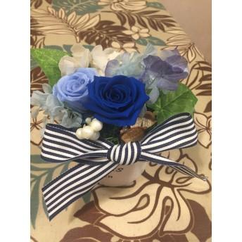 青い薔薇と紫陽花のブリザードフラワー