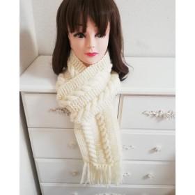 手編み超ロングマフラー、ホワイト