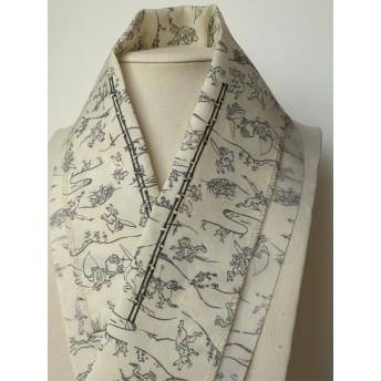 2way『鳥獣戯画』 ️『bamboo line』きりりと竹の縞 刺繍半衿