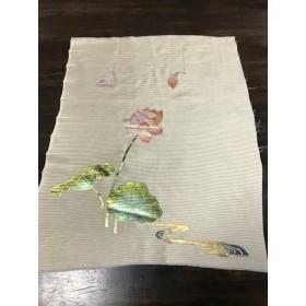 ★和布★古布 正絹 絽の着物のハギレ(金彩箔で蓮)【f241767325】