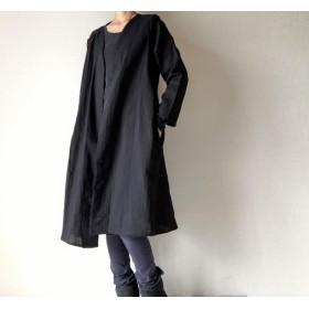 シンプル無地の羽織りロングコート*ダブルガーゼ*コットン100%*ブラック