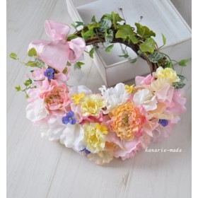 flower bag wreath 2:sweet pea & ranunculus