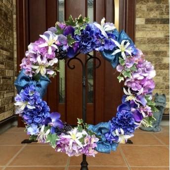 wreath-14824★玄関リース★アーティフィシャルフラワー(造花)/特大あじさいのリース(5)48cm