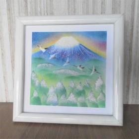 原画【富士山と丹頂鶴 】額込パステルアート