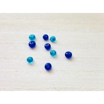 手作りガラスビーズ 青と水色のこつぶ