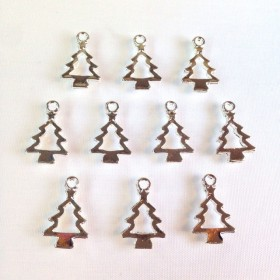 クリスマスツリー シルバー(10個) カン付きチャーム 102ZA153