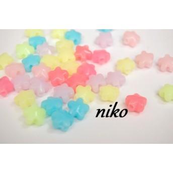 【50個】お花ビーズ☆彡パステルカラーmix