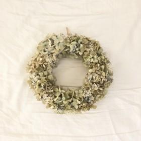 【送料無料】# 紫陽花とかすみ草のアンティークリース