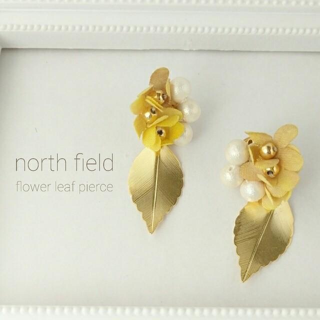 手染め布花小花とパールのリーフピアス