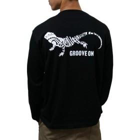 (グルーブオン) 長袖 tシャツ メンズ おおきいサイズ ロング tシャツ バックプリント ロンtee トカゲ柄 golt4604 (XXL, BLACK-WHITE)