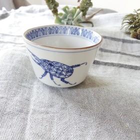 京焼き/呉須染め付けの器 側猪口 カブトムシ