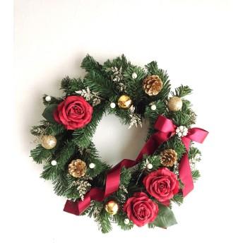 red roseのクリスマスリース(35㎝)