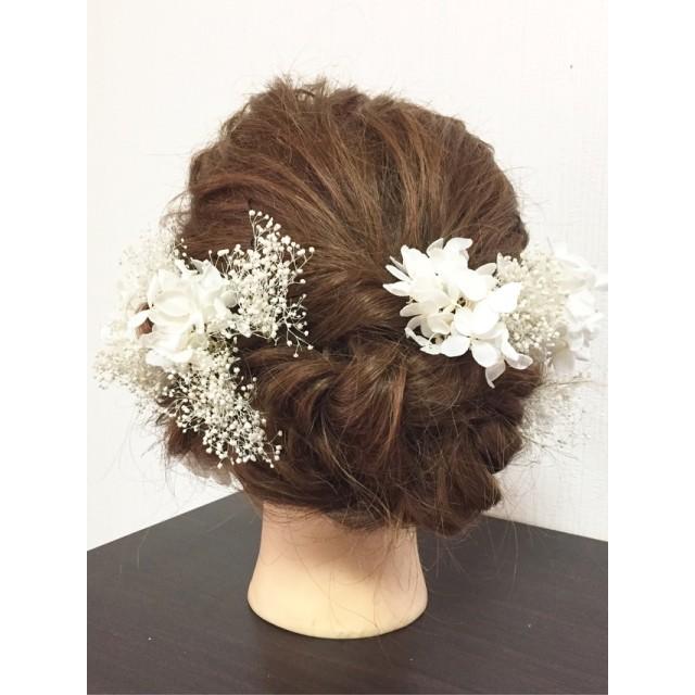 ドライフラワー髪飾り プリザーブド ヘッドドレス 成人式髪飾り