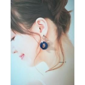 ブルー&クリアーひねりリングピアス/イヤリング