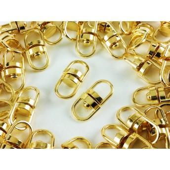 送料無料 回転カン ゴールド 50個 18mmx8.5mm 金色 回転式 カン キーホルダー ナスカン ストラップ パーツ アクセサリー 金具 (AP0214)