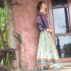 ◆BOHO◆インドサリー▲マキシ丈リバーシブル巻きスカート
