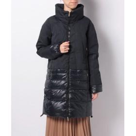 アン レクレ 異素材ロングダウンコ ト レディース ネイビー 2 【en recre】