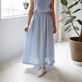 リネンシャンブレーのギャザーロングスカート(sax blue)