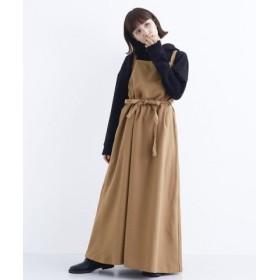(merlot/メルロー)バックリボンエプロンジャンパースカート/レディース キャメル