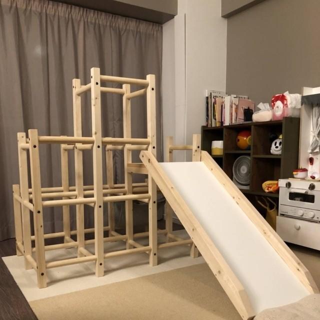 木製ジャングルジム&すべり台