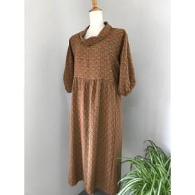 着物リメイク 正絹のワンピース Kimono brown pullover Dress