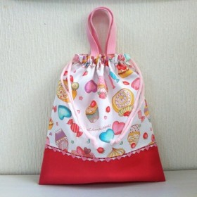 ケーキ&ピンクの体育着袋 お着替え袋A/裏地付き(ドット)