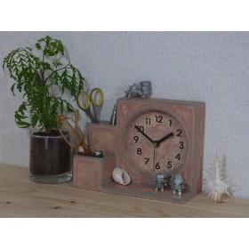 テラコッタ風置時計