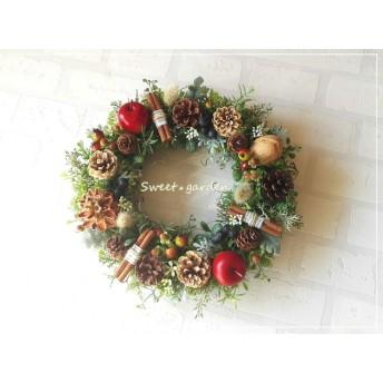 【再販】アップルと木の実のリース new (fw011)*玄関ドアなど外にも飾れるアーティフィシャルリース