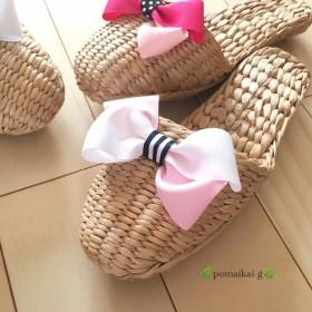 【送料無料】girlyガマスリッパ ホワイト×ピンク