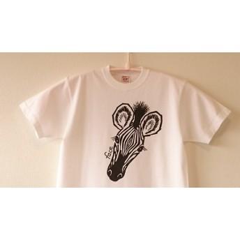 手描き シマウマのお顔としっぽTシャツ