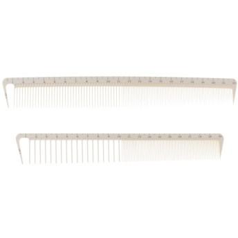 櫛 ヘアコーム 頭皮マッサージブラシ 樹脂製 低静電気 耐熱性 軽量 タフ スケール付き 2個セット