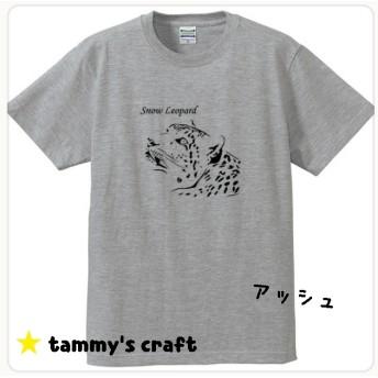 レディースS/M★ユキヒョウのリアルTシャツ★ 動物T