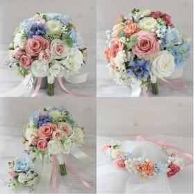 オーダーメイドブーケと花冠/ピンク、サムシングブルー(ライトブルー、ブルー)、ピーチ、白、グリーンのラウンドクラッチ風ブーケ